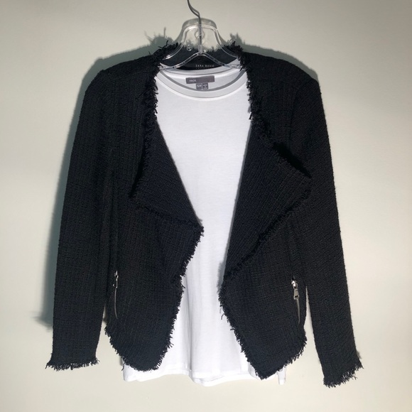 ZARA Textured Tweed Drape Front Blazer - Small